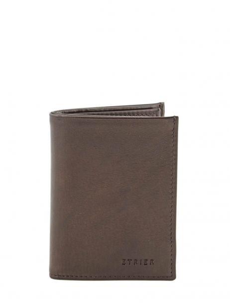 Wallet Leather Etrier Brown caro E33937