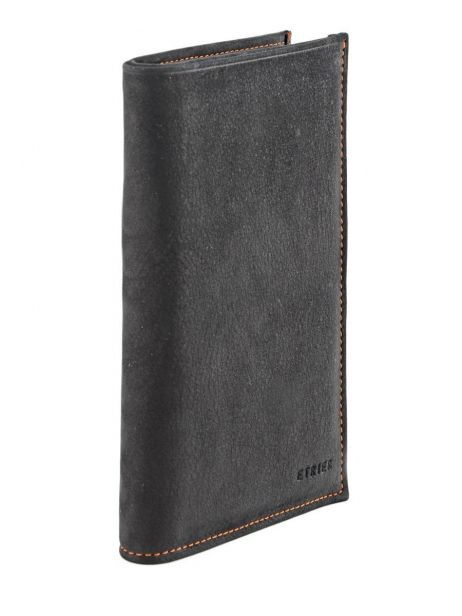 Wallet Leather Etrier Black nubuck E96260 other view 1