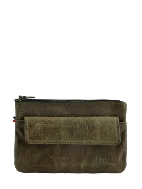 Purse Leather Etrier Green antik 708614