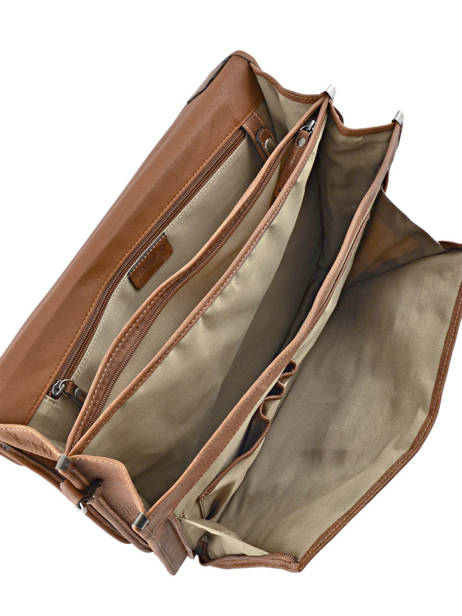 Briefcase 3 Compartments Etrier Brown spider S34207 other view 4