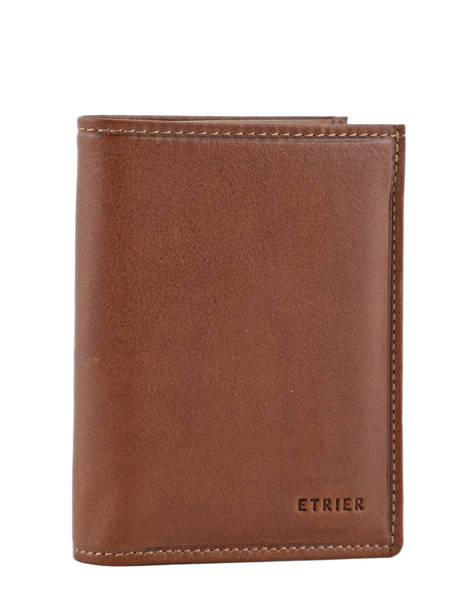 Wallet Leather Etrier Brown blanco 600142