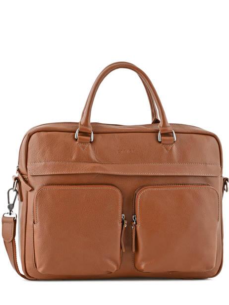 Briefcase 2 Compartments + 15'' Pc Etrier Brown flandres L11548