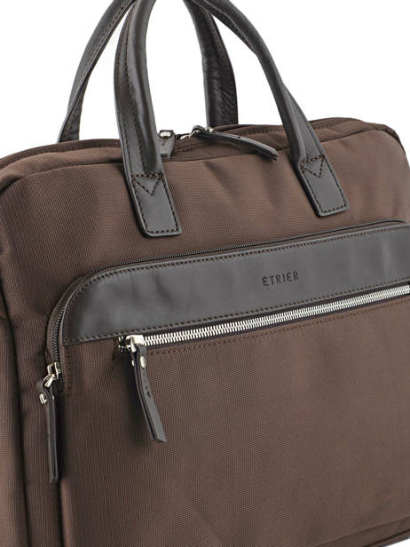 Briefcase 2 Compartments + 15'' Pc Etrier Brown ultra light LN11064 other view 1