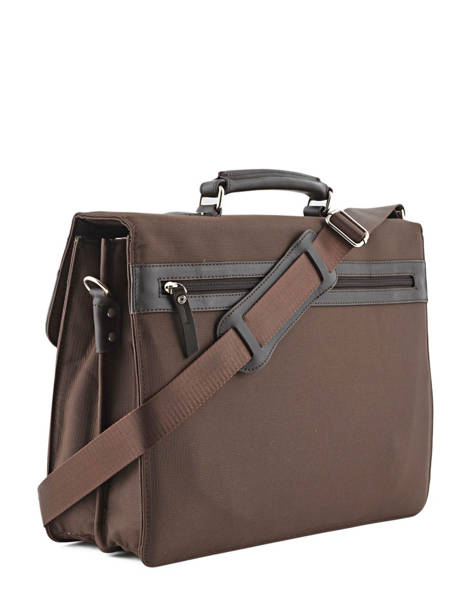 Briefcase 2 Compartments Etrier Brown ultra light LN11749 other view 3
