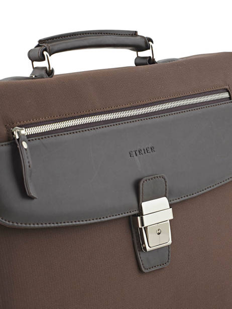 Briefcase 2 Compartments Etrier Brown ultra light LN11749 other view 1
