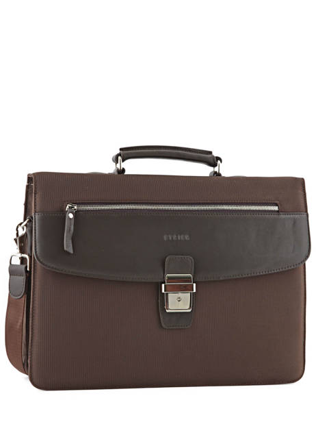 Briefcase 2 Compartments Etrier Brown ultra light LN11749