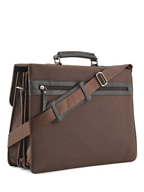 Briefcase 3 Compartments Etrier Brown ultra light LN117491 other view 3