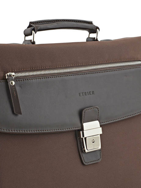 Briefcase 3 Compartments Etrier Brown ultra light LN117491 other view 1