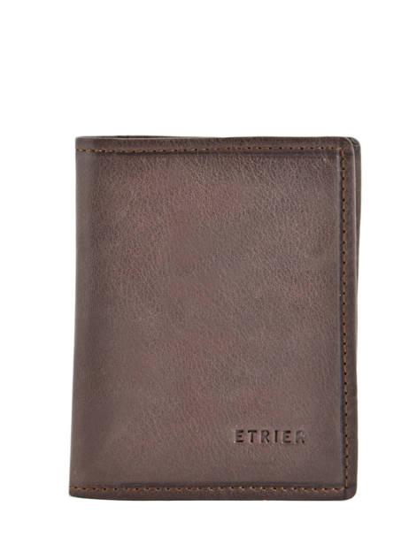 Card Holder Leather Etrier Brown blanco 600021