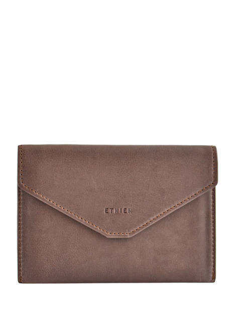 Wallet Leather Etrier Beige blanco 600054