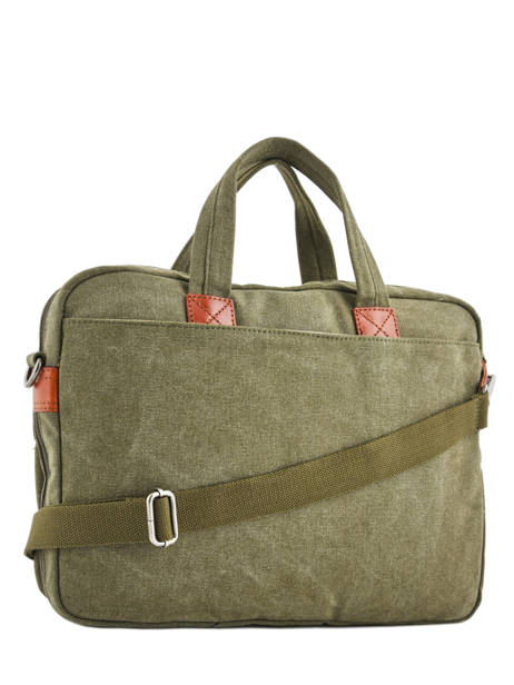 Briefcase 1 Compartment + 15'' Pc Etrier Green canvas 6587 other view 3