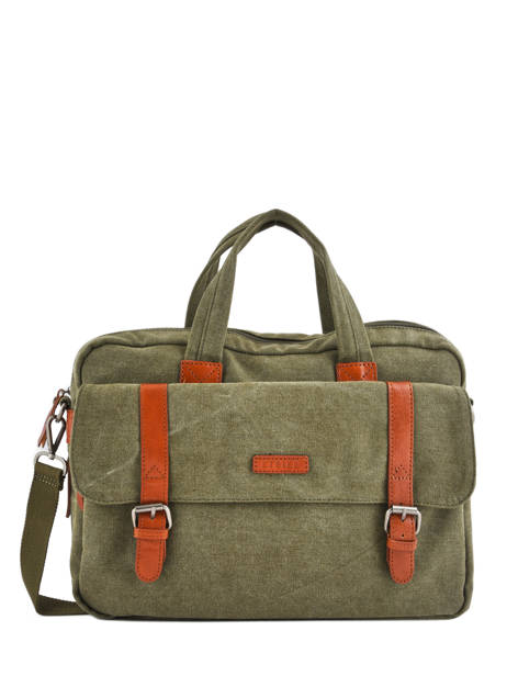 Briefcase 1 Compartment + 15'' Pc Etrier Green canvas 6587