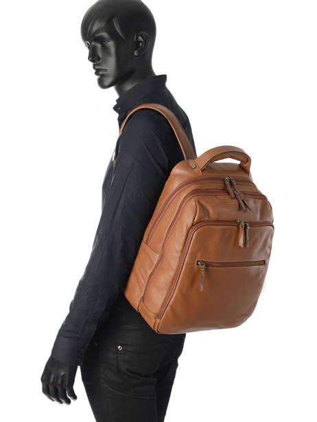 Backpack 2 Compartments + 15'' Pc Etrier Brown flandres 69510 other view 2