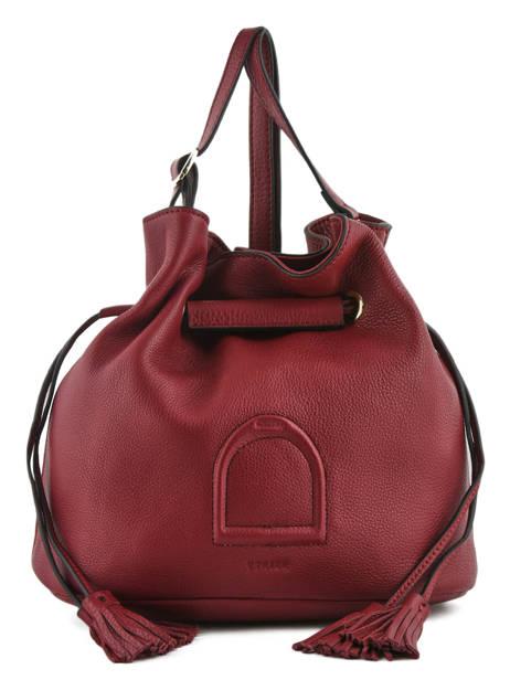 Shoulder Bag Paris Leather Etrier Red paris EPAR10