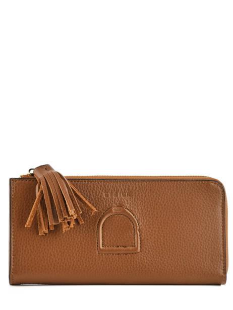 Wallet Leather Etrier Brown paris EPAR95B