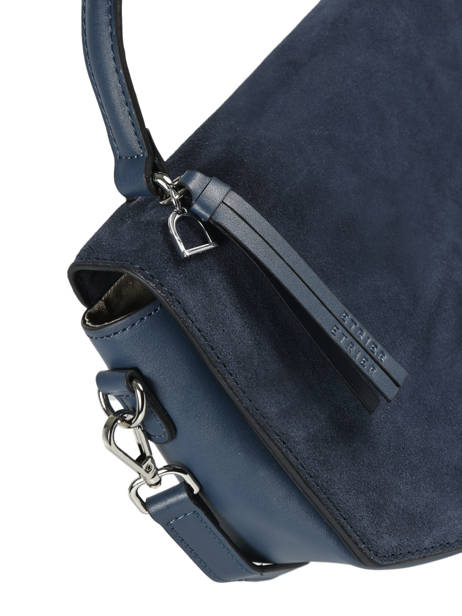 Shoulder Bag Caleche Leather Etrier Blue caleche ECAL013B other view 1