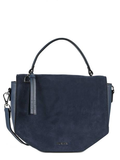 Shoulder Bag Caleche Leather Etrier Blue caleche ECAL013B
