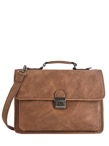 Briefcase 3 Compartments Etrier Brown spider S34207
