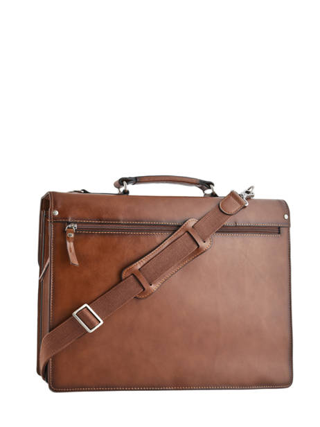 Briefcase 3 Compartments Etrier Brown 63043 other view 4
