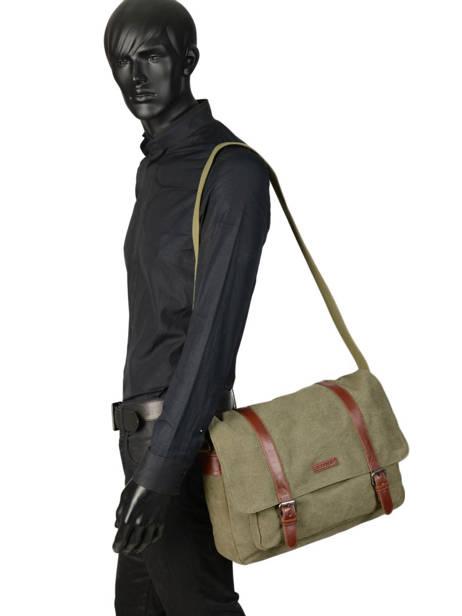 Messenger Bag Etrier Green canvas 6584 other view 2