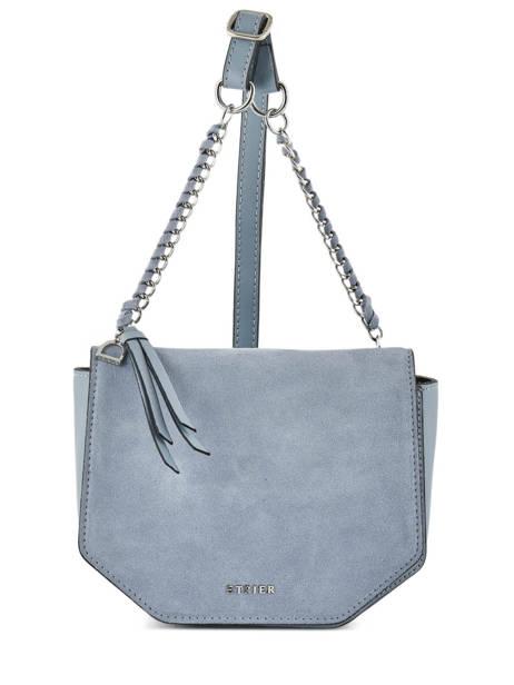 Shoulder Bag Caleche Leather Etrier Blue caleche ECAL012B