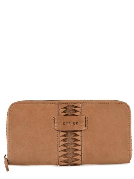 Leather Wallet Natte Etrier Brown natte ENTT91