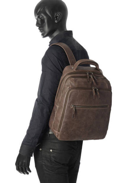 Backpack 2 Compartments + 15'' Pc Etrier Brown spider ESPI03 other view 1