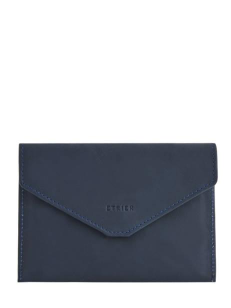 Porte-papiers Cuir Etrier Bleu blanco 600054