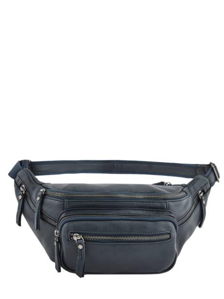 Leather Bum Bag Foulonné Etrier Blue foulonne EFOU10