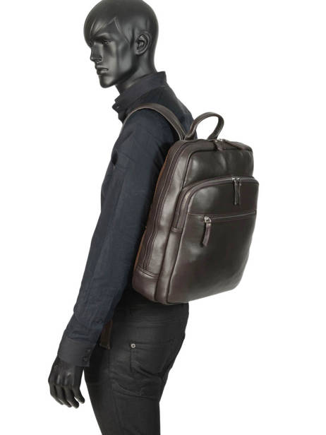 Leather Foulonné Business Backpack 2 Compartments Etrier Brown foulonne EFOU03 other view 2