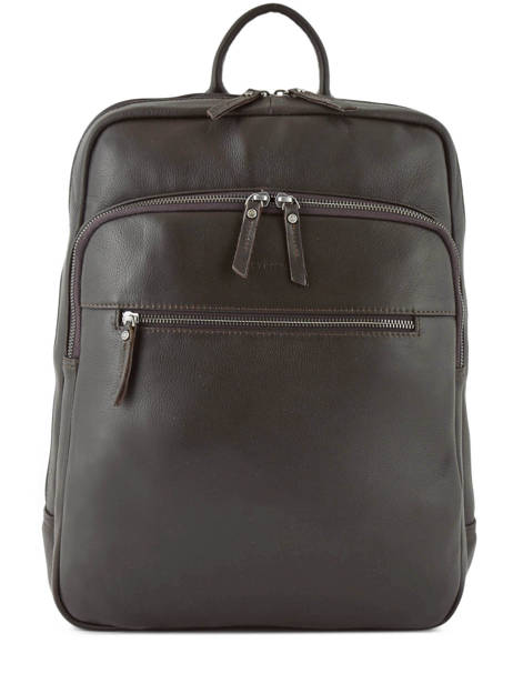 Leather Foulonné Business Backpack 2 Compartments Etrier Brown foulonne EFOU03