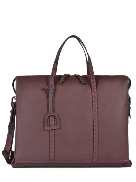 Leather Tradition Briefcase Etrier Violet tradition EHER81