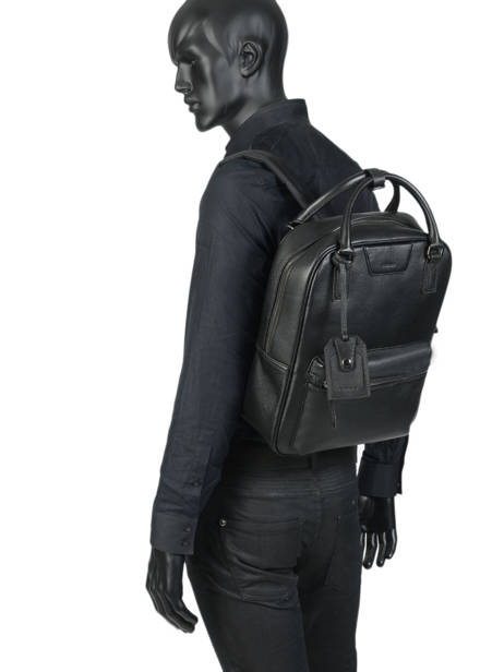 Leather Manhattan Business Backpack Etrier Black EMAN13 other view 2